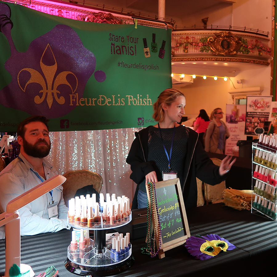 Alex of Fleur de Lis polish and her husband manning their booth at Spring 2017 Polish Convention in NEw York.